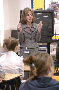 Diane Witt  Left  And Dr  Patricia Devlin Talked To Whitmer Students
