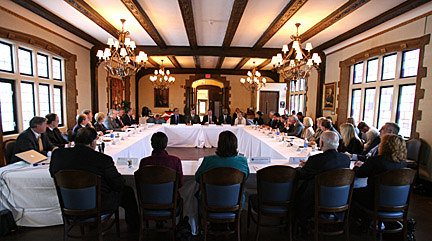 Libbey Hall on Main Campus was filled as UT and Owens Community College trustees and Toledo Public Schools members met last week.
