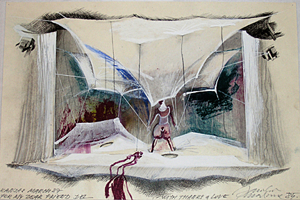 """Jaroslav Malina's drawing of the set for the 1985 production of """"A Midsummer Night's Dream."""""""