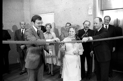 Dr. Richard D. Ruppert, right, and David W. Benfer, then MCO Hospital executive director, held a ceremonial ribbon that Pearl  Yaekel, an x-ray technician and senior MCO employee, cut to officially dedicate the teaching hospital, today UT Medical Center, on Nov. 30, 1979.