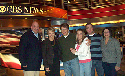 Posing for a photo after the March 12 broadcast of the CBS Evening News With Katie Couric were, from left, Matt Jones, the altruistic donor who started the chain; Couric; Dr. Michael Rees; Angela Heckman, the second recipient in the chain; Matt Lockwood, UT director of public relations; and Laurie Sarvo, the third donor.