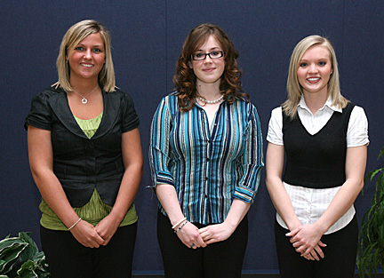Scholarship winners were, from left, Kelsy Wermer, Cynthia Williams and Erin Keiser; Paulette Bongratz was unable to attend the ceremony.
