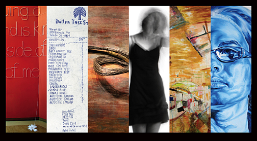 Works by, from left, recent graduates Shannon Huffman, Helen Grubb, Andrea Carnick, Courtney Macklin, Britney McIntyre and Chelsea Younkman are featured in the 2009 Bachelor of Fine Art Exhibition.