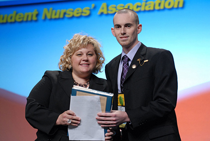 Tricia Schroeder, executive marketing manager with Elsevier, presented UT's Brent Straley with the Isabel Hampton Robb Leadership Award at the National Student Nurses' Association convention in Nashville, Tenn., in April.
