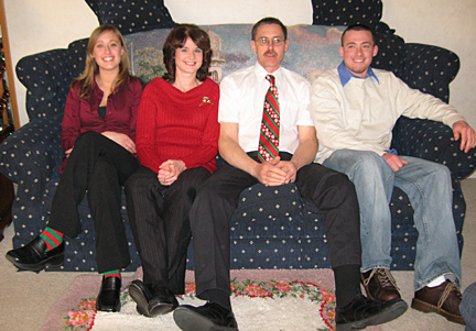 The Zydorczyks, from left, April, Jackie, Mike and Matt, posed for a holiday photo in 2007.