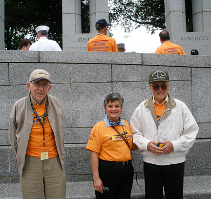 Toni Blochowski visited the World War II Memorial with George, left, and Rudy, two veterans from the area, through Honor Flight Northwest Ohio.