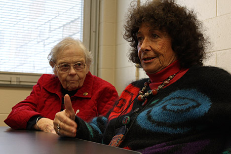 Dr. Zafra Lerman, right, talked to faculty and students in the Chemistry Department as Dr. Nina McClelland, dean of the College of Arts and Sciences, listened.