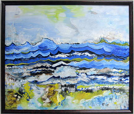 """This untitled work is part of Brenda Price's exhibit titled """"Shades of Blue."""""""