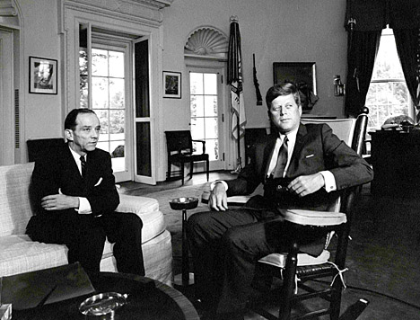 This photo of Foy Kohler, U.S. ambassador to the Soviet Union, and President John Kennedy in the Oval Office is part of Kohler's papers housed in the Ward M. Canaday Center for Special Collections.