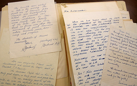 The Canaday Center for Special Collections holds letters received by Foy Kohler following the assassination of President Kennedy.