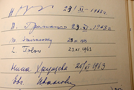 Soviet leader Nikita Khrushchev's signature is on the top line of this condolence book that is among the papers of Foy Kohler housed in the Canaday Center for Special Collections.