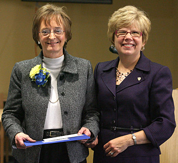 Dr. Rosemary Haggett, right, posed for a photo with Outstanding Women Award recipient Sharon Periat.