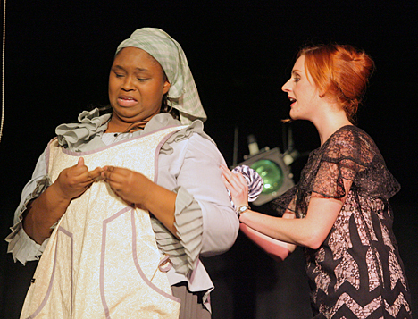 "Tyria Allen, left, shown here with Betsy Yeary in the 2009 UT production of ""Machinal,"" will appear in an episode of HBO's ""Hung"" this summer."