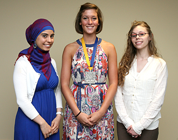 Students who received scholarships were, from left, Linda Amrou, Nicole Beck and Angel Marie Ellison, and, not shown, Paulette Bongratz.