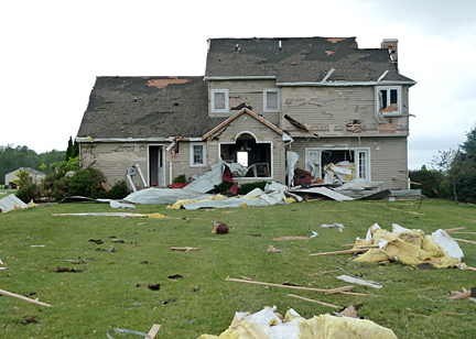 The Delta home of Kelli and Quinn Chovanec was ripped apart by a tornado that touched down in Fulton County June 5.
