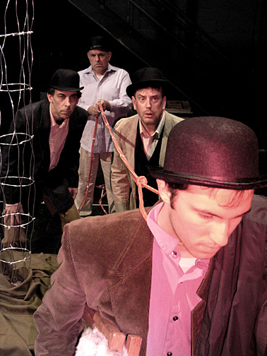 """Glacity Theatre Collective members, from left, Dr. Ben Pryor, Dave DeChristopher, Kevin Hayes and Kevin Barron rehearsed a scene from """"Waiting for Godot."""""""