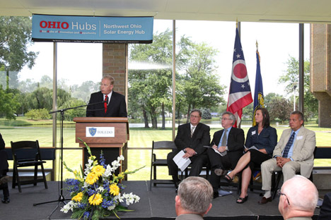 Ohio Gov. Ted Strickland announced the Northwest Ohio Solar Energy Hub on UT's Scott Park Campus of Energy and Innovation.