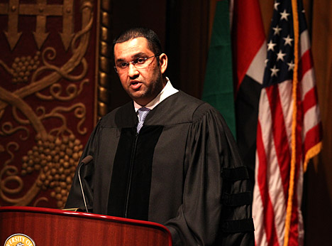 Dr. Sultan Al Jaber addressed a crowd of close to 500 in Doermann Theater.