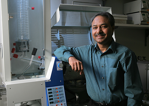 Dr. Abdul-Majeed Azad works in the North Engineering Building Materials Research Lab, where the Hiedolph LR20 rotary evaporator is used for large-scale catalyst synthesis and for coating catalysts on honeycomb monoliths.