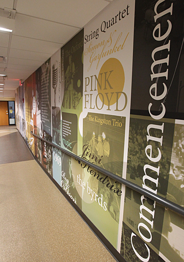 Concerts and sporting and political events are chronicled on a wall on the second floor of the Memorial Field House.