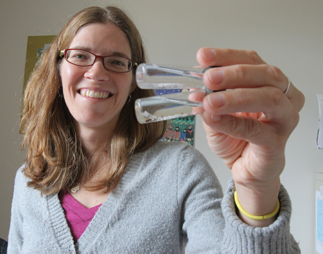 Dr. Stacy Philpott showed off insect samples.