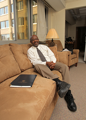 Dr. Willie McKether kicks back in his apartment in Carter Hall.