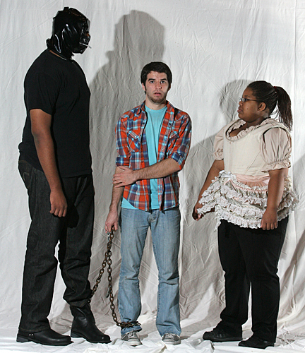 "Bruno (Christopher Douglas), left, Etienne (Pat Miller), center, and Micaela (Terri Mims) rehearsed a scene from Fernando Arrabal's ""The Labyrinth."""