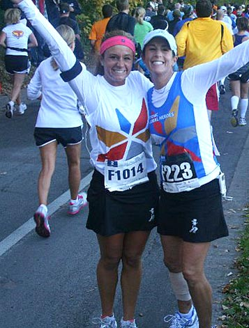 Robin Laird, right, and her daughter, Brooke, posed for a photo during the Medtronic Twin Cities Marathon in Minnesota.