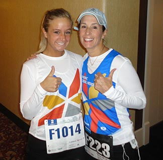 Robin Laird, right, and her daughter, Brooke, gave a big thumb's up before heading out to the race.