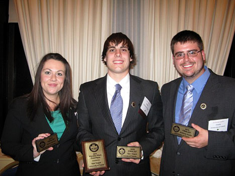 Kyle Teague, center, is shown here with teammates Sarah DeLisle and Anthony Sopko.