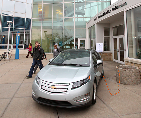 Students check out Chevrolet's Volt, which was charging up outside Nitschke Hall Friday.
