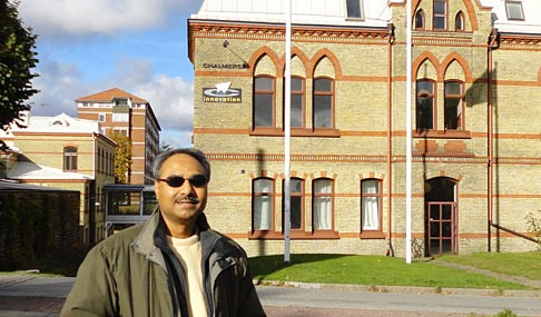 Dr. Abdul-Majeed Azad posed for a photo on the campus of the Chalmers Institute of Technology in Gothenburg, Sweden.