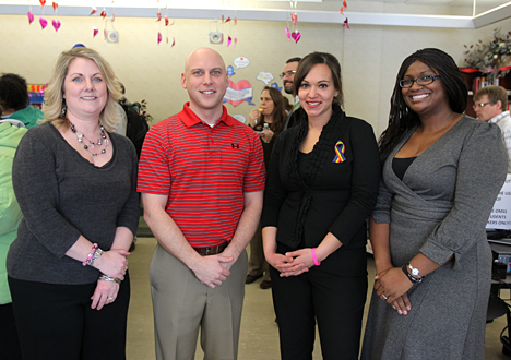 Several students, faculty and staff attended the Multicultural Student Services open house last week to meet new staff members, from left, Stephanie McGuire-Wise, Dale Pelz, Fatima Pervaiz and Jessica Merritt.