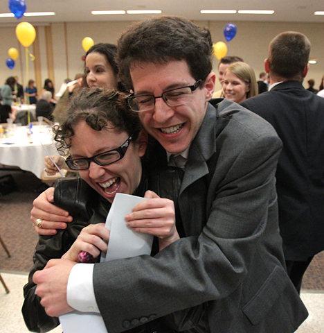 Aaron Shmookler hugged his sister, Annie, after opening his letter. He matched in neurology at the Mayo Clinic.