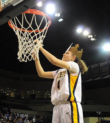 Naama Shafir helped cut down the net in Savage Arena after the Rockets won the regular-season Mid-American Conference Championship.