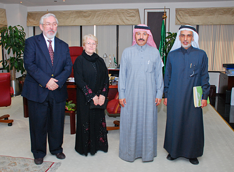 During their visit to King Saud University in Saudi Arabia, Dr. Jerzy Jankun and Dr. Ewa Skrzypczak-Jankun, left, posed for a photo with, from left, Dr. Ali Al-Ghamdi and Dr. Abdulrahman Al-Senaidy.