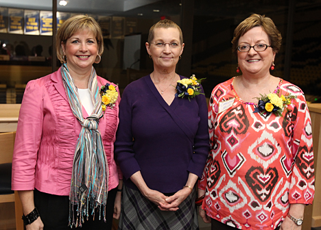 The University Women's Commission honored, from left, Tammy Kneisley, Ginnie Gulch and Christine Keller.