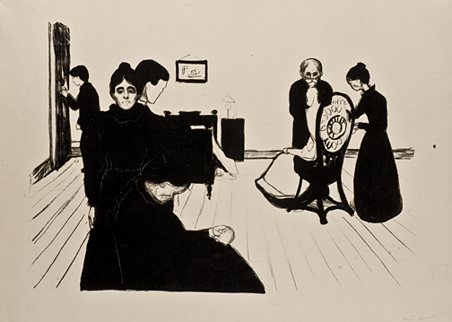 """Sterbezimmer"" (""The Death Chamber""), 1869 lithograph by Edvard Munch, Toledo Museum of Art. Fredrick B. and Kate L. Shoemaker Fund, 1976.139."