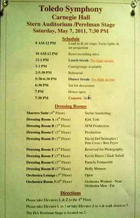 This was the flyer listing dressing room assignments at Carnegie Hall.