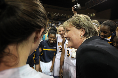 Coach Tricia Cullop listened to her team following a Rocket WNIT victory.
