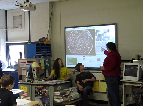 Kathleen Singler, a science teacher at Ottawa Hills High School, used UT's new scanning electron microscope to teach her ninth-grade biology class this spring.