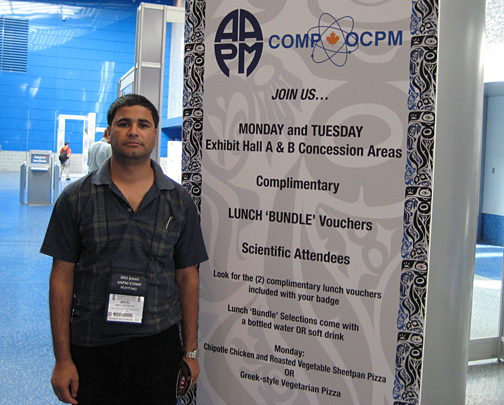 Doctoral student Bhoj Gautam posed for a photo at at the annual meeting of the American Association of Medical Physicists in Vancouver, British Columbia.