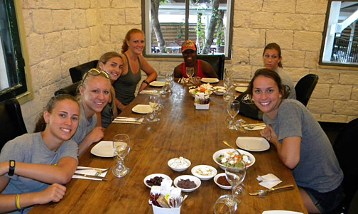 Some members of the UT women's basketball team posed for a photo before lunch at the Bistro de Carmel.
