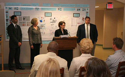 UT faculty members, from left, Dr. Scott Molitor, Dr. Joan Kaderavek and Dr. Charlene Czerniak, along with Toledo Public Schools Curriculum Director Robert Mendenhall, spoke at the press conference last week to announce the $10 million grant from the National Science Foundation to start the NURTURES Program.