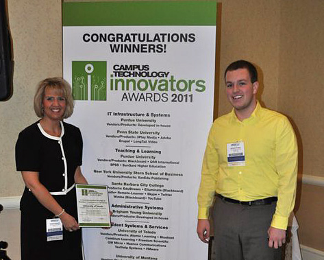 Angela Paprocki and Rick Suttles, project manager with the UT Collaborative, showed off the Campus Technology Innovator Award the Office of Accessibility's Assistive/Adaptive Virtual Lab Project Team received last month at the Campus Technology 2011 Conference in Boston.