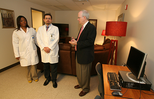 Dr. Jeffrey Gold talked about and showed the new resident lounge in Mulford Library to Dr. Valerie Takyi and Dr. Mustafa Nazzal, residents in surgery.