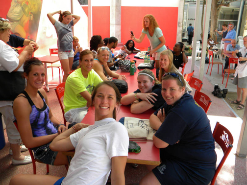 Members of the women's basketball team posed for a photo after lunch at the Palmach Museum.