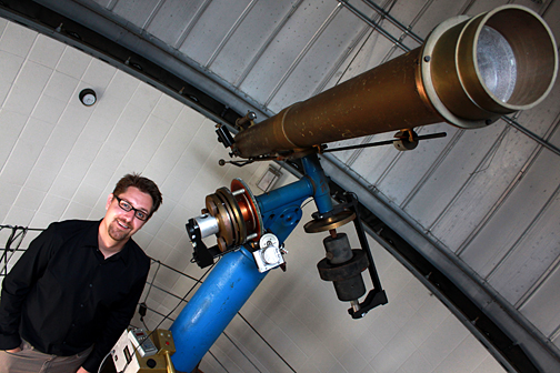 Dr. Michael Cushing, assistant professor of astronomy and director of the Ritter Planetarium, shown here in the Brooks Observatory, is part of a team that discovered a new type of star, the Y Dwarf.