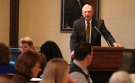 Dr. William McMillen, provost and executive vice president for academic affairs, spoke at a recent breakfast meeting that brought together stakeholders from UT and Owens Community College to discuss how to advance seamless career pathways for students between the two institutions.