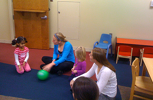 Lauren Notario, left, and Emily Everly, students in the Speech-Language Pathology Program, worked with children in the Auditory and Language Enriched Program.